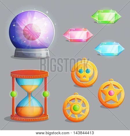 A collection of items for magic witch equipment set. Crystal gemstones and pendant amulets, ancient hourglass and magic sphere with lightning, spooky elements for game and app design.