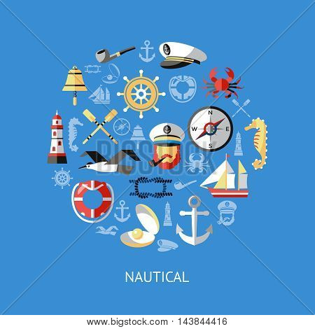 Nautical round composition with isolated icon set combined in big circle on blue background vector illustration