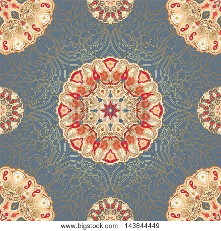 Seamless pattern with colored mandalas and gold contour.