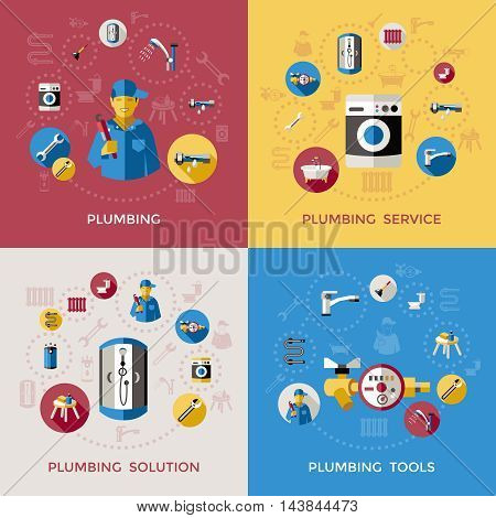 Four square plumbing composition or icon set with service tools and solutions descriptions vector illustration