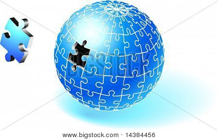 Incomplete Blue Globe Puzzle Original Vector Illustration Incomplete Globe Puzzle Ideal for Unity Concept