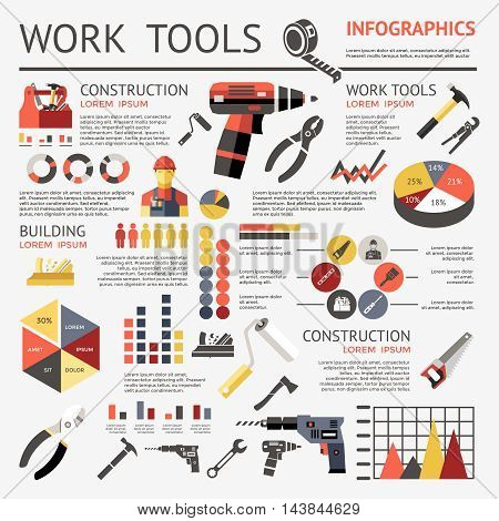 Work tools colored infographic with construction building and construction descriptions and graphs vector illustration