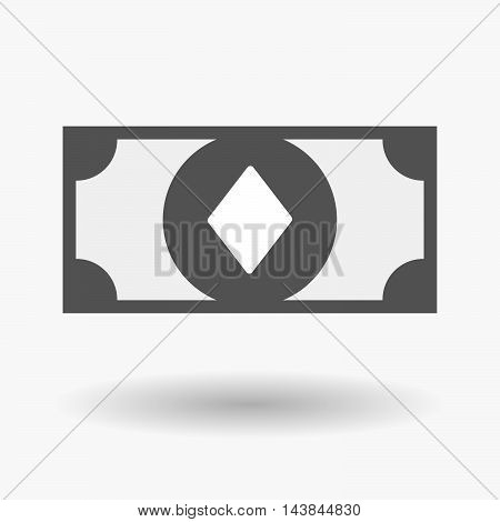 Isolated  Bank Note Icon With  The  Diamond  Poker Playing Card Sign