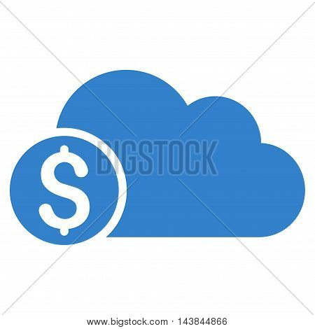Banking Cloud icon. Vector style is flat iconic symbol with rounded angles, cobalt color, white background.