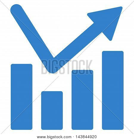 Bar Chart Trend icon. Vector style is flat iconic symbol with rounded angles, cobalt color, white background.