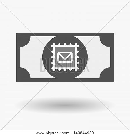 Isolated  Bank Note Icon With  A Mail Stamp Sign