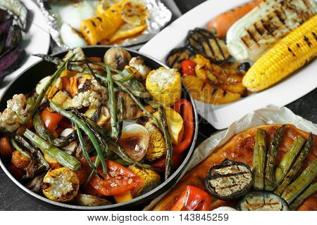Tasty dishes of grilled vegetables, close up