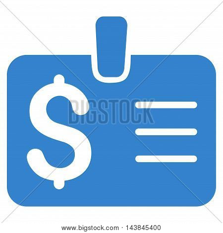 Dollar Badge icon. Vector style is flat iconic symbol with rounded angles, cobalt color, white background.