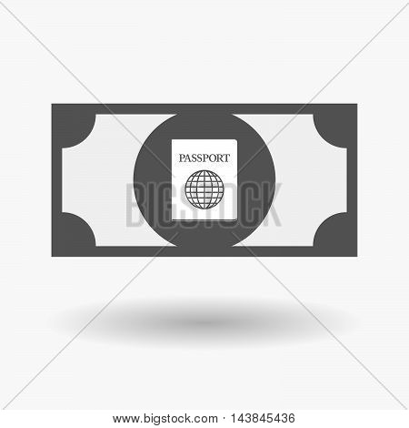Isolated  Bank Note Icon With  A Passport