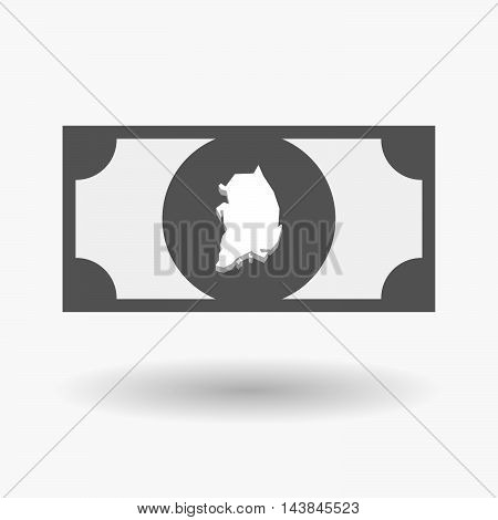 Isolated  Bank Note Icon With  The Map Of South Korea