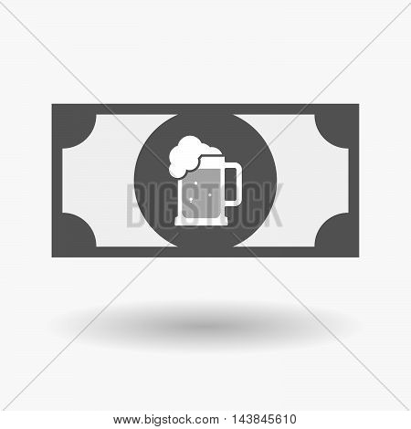 Isolated  Bank Note Icon With  A Beer Jar Icon