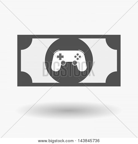 Isolated  Bank Note Icon With  A Game Pad