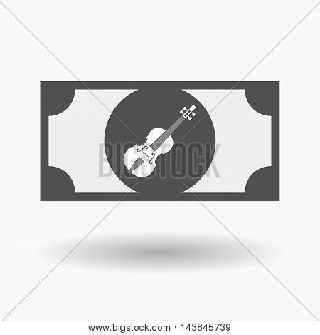Isolated  Bank Note Icon With  A Violin