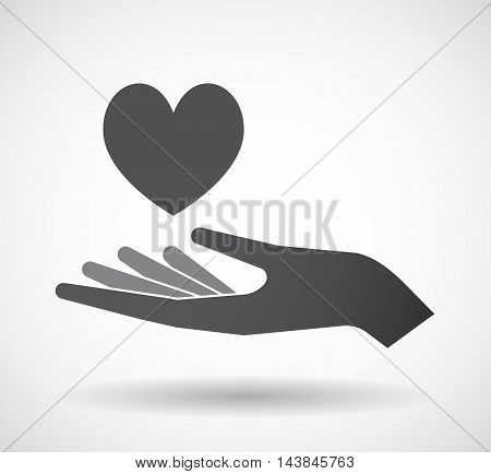 Isolated  Offerign Hand Icon With  The Heart Poker Playing Card Sign