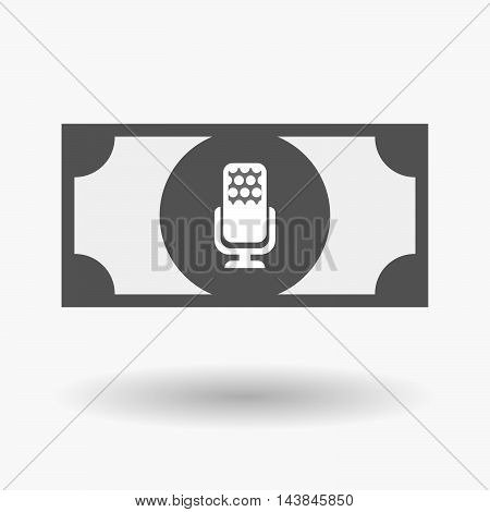 Isolated  Bank Note Icon With  A Microphone Sign