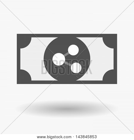 Isolated  Bank Note Icon With  A Network Sign