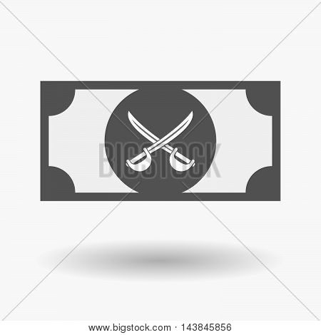 Isolated  Bank Note Icon With  Two Swords Crossed