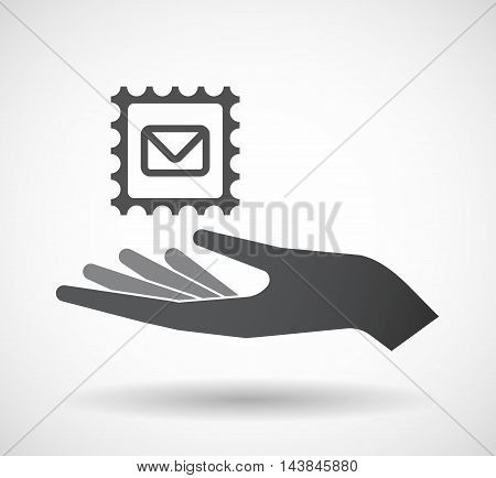 Isolated  Offerign Hand Icon With  A Mail Stamp Sign