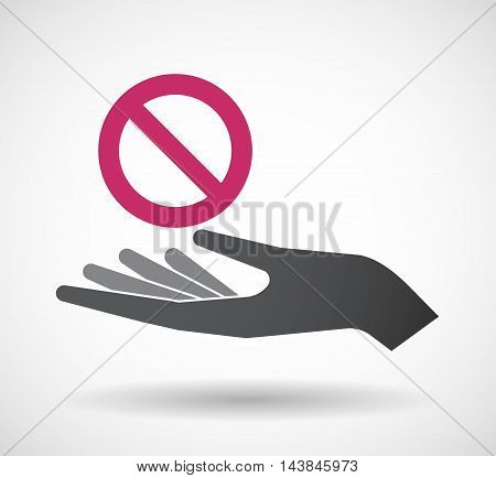 Isolated  Offerign Hand Icon With  A Forbidden Sign