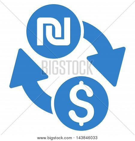 Dollar Shekel Exchange icon. Vector style is flat iconic symbol with rounded angles, cobalt color, white background.