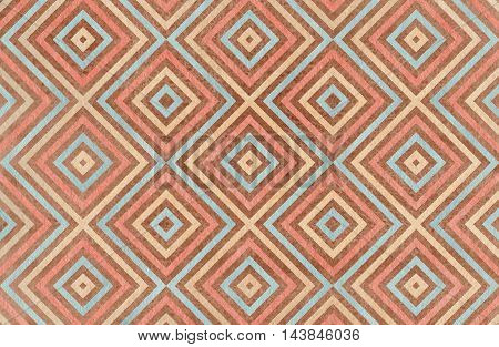 Geometrical Pattern In Brown, Pink, Beige And Blue Colors.