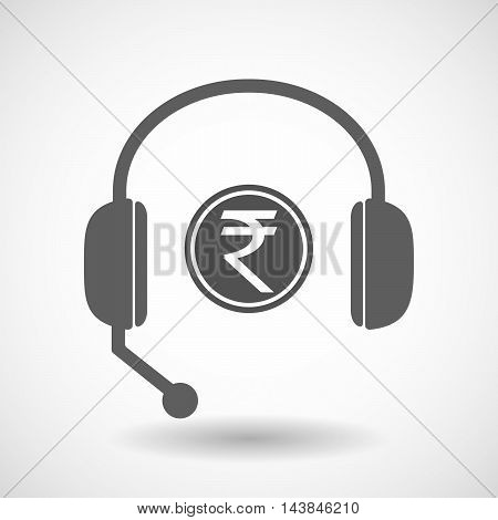 Isolated  Hands Free Headset Icon With  A Rupee Coin Icon
