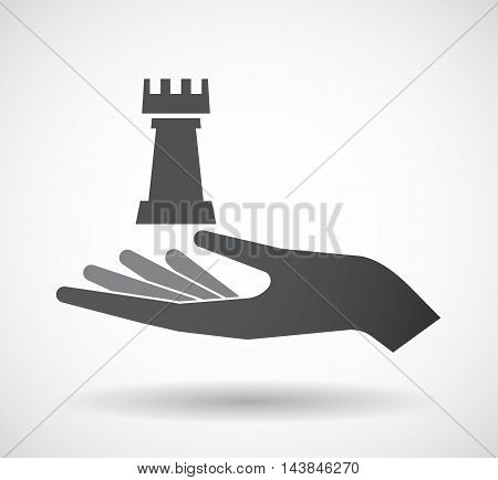 Isolated  Offerign Hand Icon With A  Rook   Chess Figure