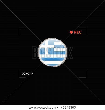 Greek Flag In Focus Illustration On Black Background