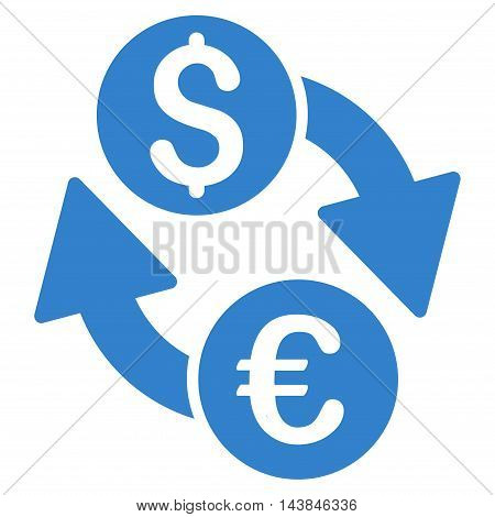 Euro Dollar Exchange icon. Vector style is flat iconic symbol with rounded angles, cobalt color, white background.