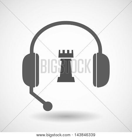 Isolated  Hands Free Headset Icon With A  Rook   Chess Figure