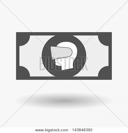 Isolated  Bank Note Icon With  A Male Head Wearing A Virtual Reality Headset