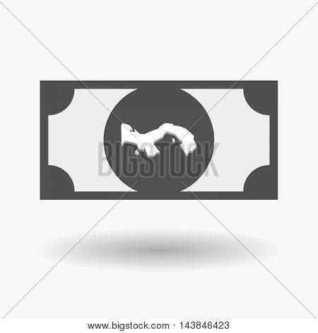 Isolated  Bank Note Icon With  The Panama Map