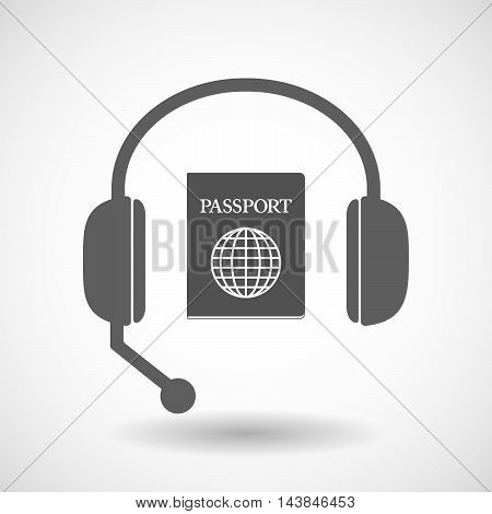 Isolated  Hands Free Headset Icon With  A Passport