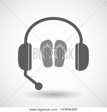 Isolated  Hands Free Headset Icon With   A Pair Of Flops