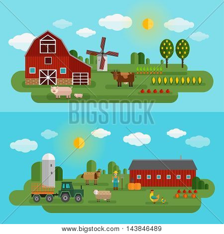 Flat farm panorama set with two different types of farm and animals vector illustration