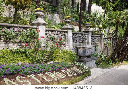 Varenna Italy - May 06 2016: The garden of the Villa Monastero spring time
