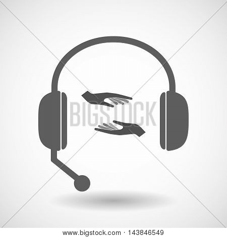 Isolated  Hands Free Headset Icon With  Two Hands Giving And Receiving  Or Protecting