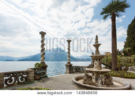 Varenna Italy - May 06 2016: The gate in a garden of Villa Monastero spring time