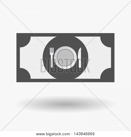 Isolated  Bank Note Icon With  A Dish, Knife And A Fork Icon