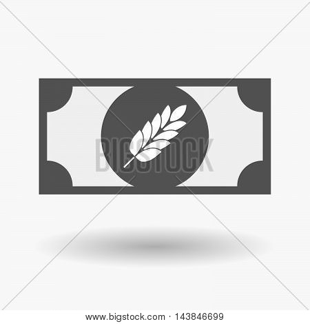 Isolated  Bank Note Icon With  A Wheat Plant Icon
