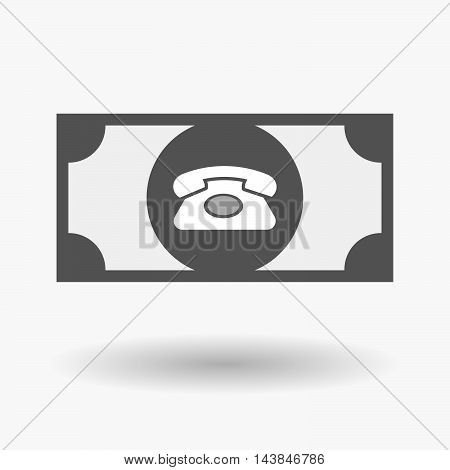 Isolated  Bank Note Icon With  A Retro Telephone Sign