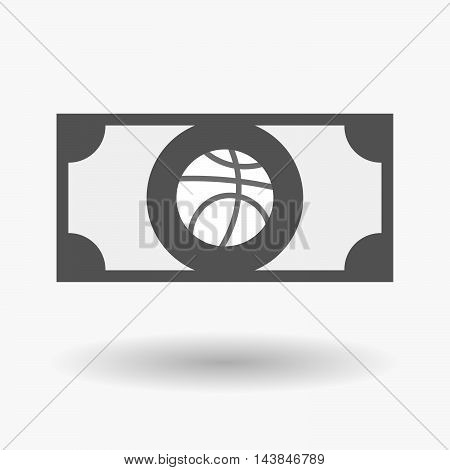 Isolated  Bank Note Icon With  A Basketball Ball