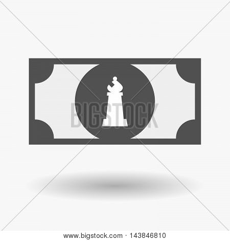 Isolated  Bank Note Icon With A Bishop    Chess Figure