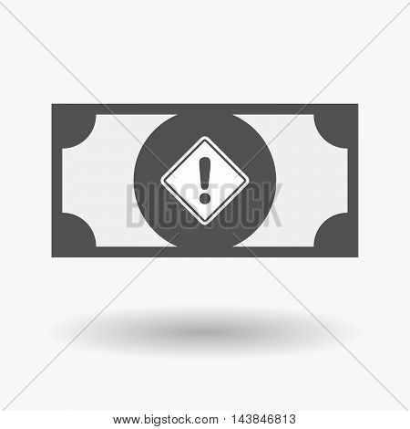 Isolated  Bank Note Icon With   A Warning Road Sign