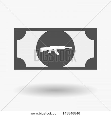 Isolated  Bank Note Icon With  A Machine Gun Sign