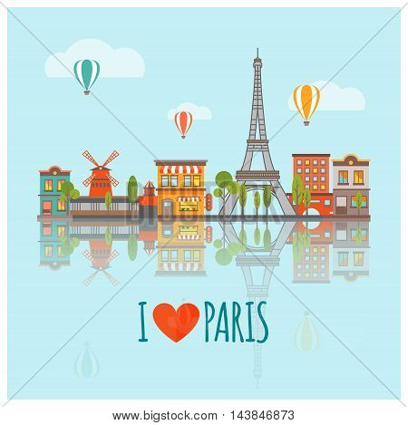 Colored Paris skyline poster with panorama of the city with major attractions vector illustration