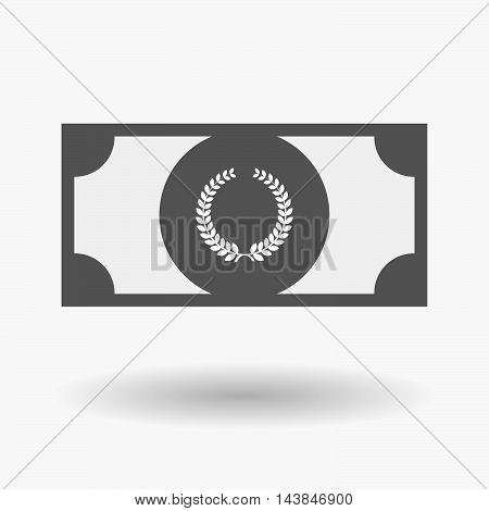 Isolated  Bank Note Icon With  A Laurel Crown Sign