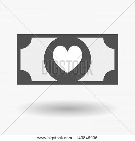 Isolated  Bank Note Icon With  The Heart Poker Playing Card Sign