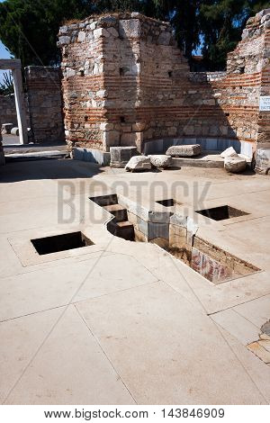 Cross of the Baptismal Font in the Church of St. John the Apostle in Selcuk / Ephesus. Turkey