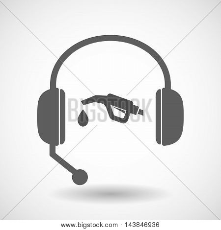 Isolated  Hands Free Headset Icon With  A Gas Hose Icon